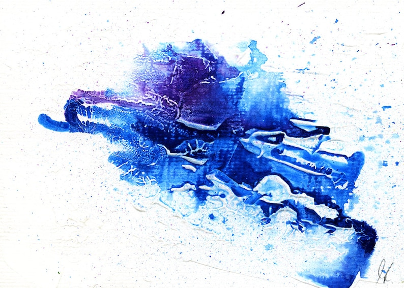 Blue and Purple Abstract painting Printable wall art image 0