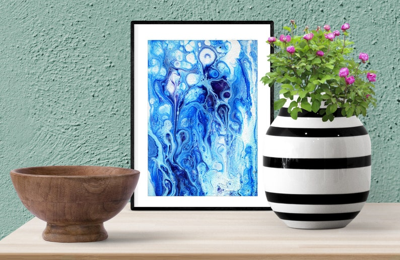 Blue and white abstract painting Minimalist wall art  Print image 0