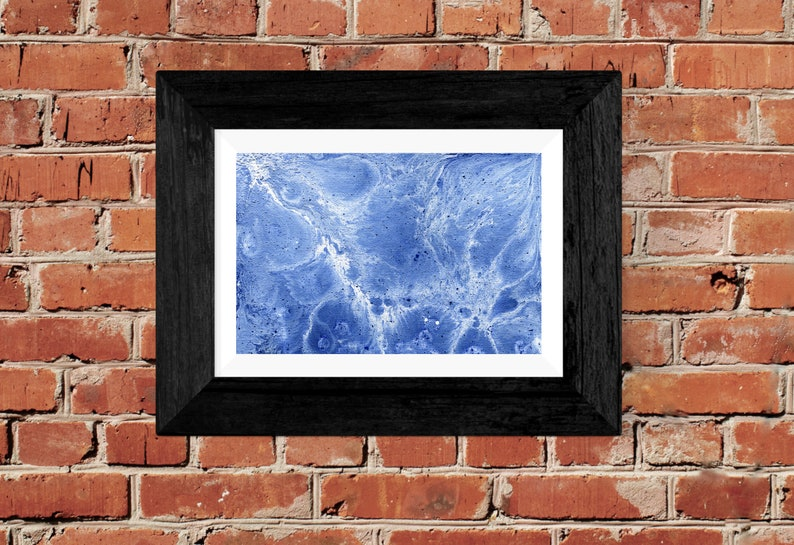 Blue fluid abstract marble painting  Wall art  Print  image 0