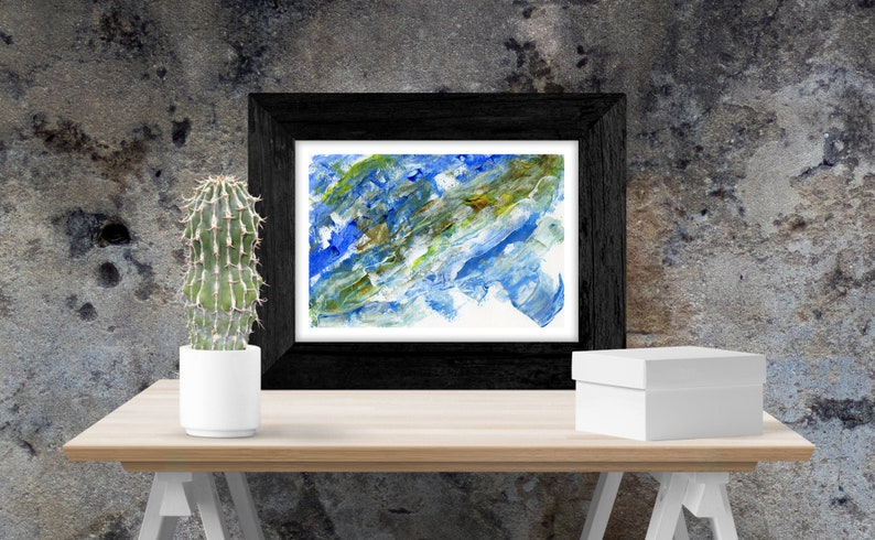 Blue and Brown abstract painting  Print  Printable  Wall image 0