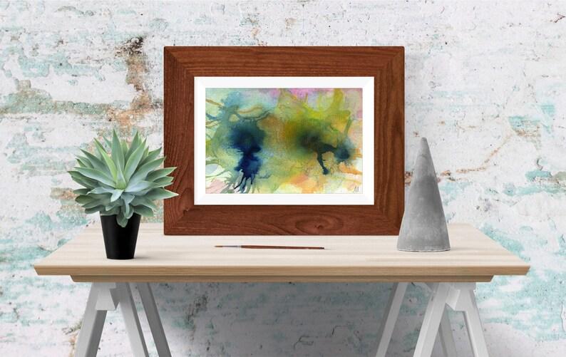 Turquoise blue abstract  Wall art  Print  Printable image 0