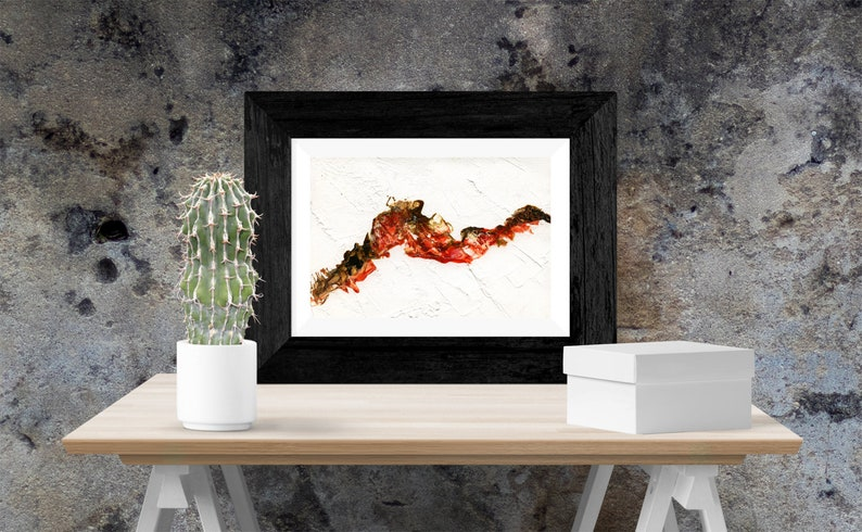 Red and black abstract painting  Wall art  Print  Printable image 0