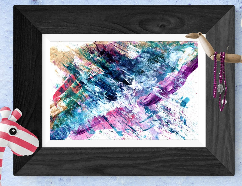 Blue and Purple abstract knife painting  Signed wall art  image 0