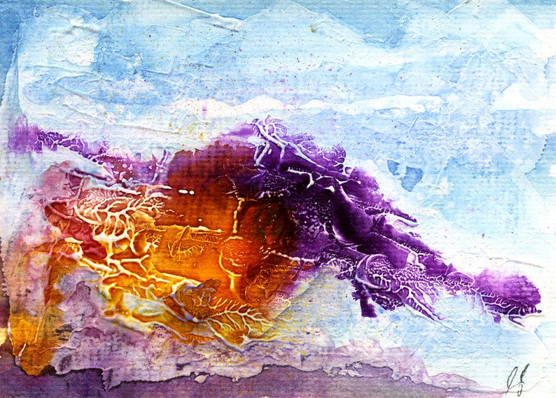 PURPLE YELLOW AND blue abstract painting printable wall art image 0
