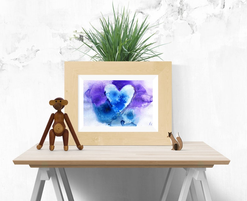 Blue abstract heart painting Printable wall art Print of image 0