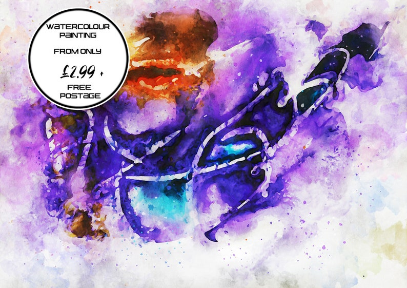 Purple and orange abstract watercolour painting original image 0