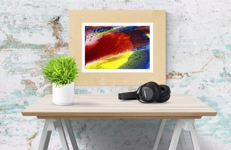 Red yellow and blue abstract painting  Minimalist wall art  image 0