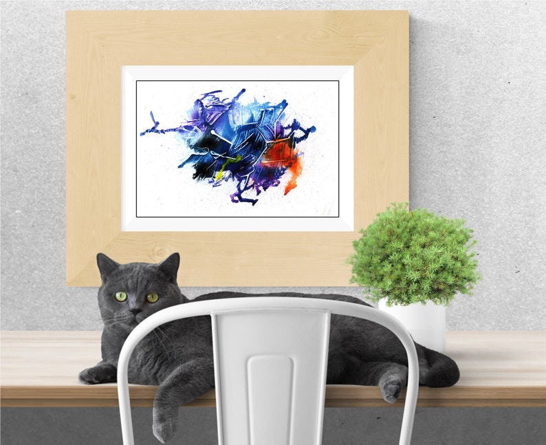 Purple blue black and orange Abstract painting print for image 0