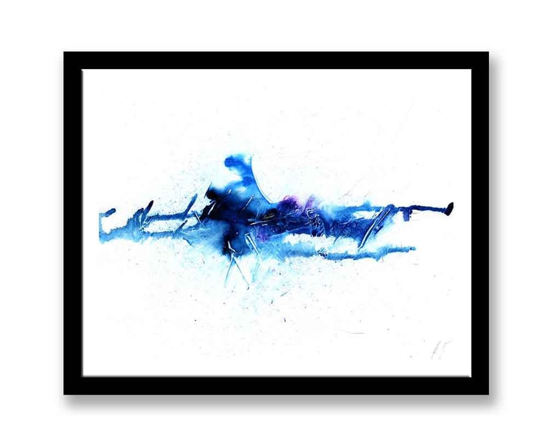 bedroom geometric minimalist Gift idea Original artwork print modern Large Blue abstract painting Printable wall art colorful