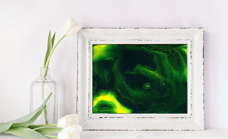 Green yellow abstract wall art Print Printable original image 0