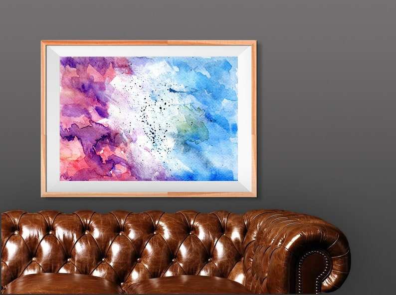 Purple and blue Abstract Watercolor Painting print for wall image 0