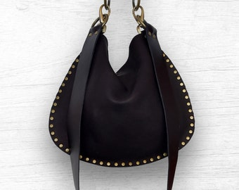 Medium Crossbody Bag | Black Leather Handbag | Boho Purse | Hobo Bag | Black Owned Shop