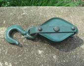Vintage Small Double Pulley Green Metal Block and Tackle Old Farm Tool Primitive Decor Lighting
