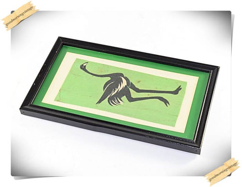 African Batik Cloth Art Ostrich