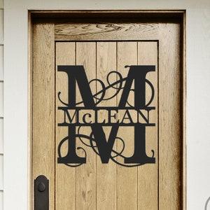 Family Name Sign\u201322\u201d Metal Name Sign Wedding Gift-Housewarming Present-11th anniversary Metal Monogram Door Hanger for Inside or Outside