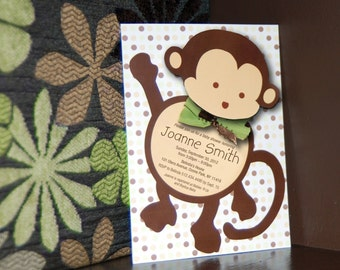 Candy wrappers for monkey baby shower mod monkey baby shower invitation and bonus thank you card solutioingenieria Images