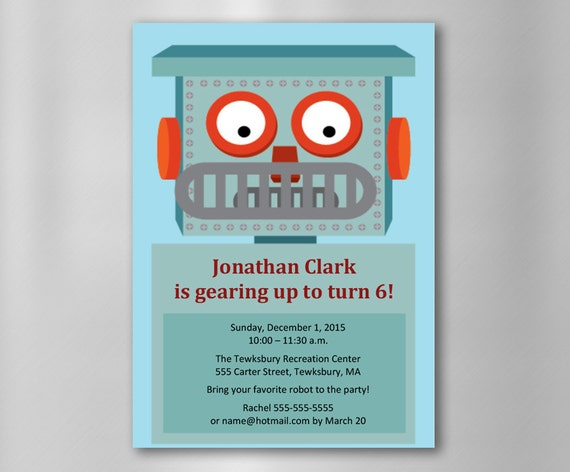 INSTANT DOWNLOAD Robot Birthday Invitation Printable Customizable MicroSoft Word Template And Thank You Cards PDF