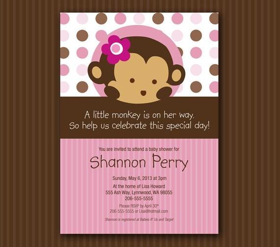 Pink Monkey Baby Shower Invitation Matches Mod Pod Pop Monkey Etsy