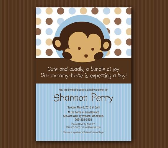 Blue Monkey Baby Shower Invitation Matches Mod Pod Pop Monkey