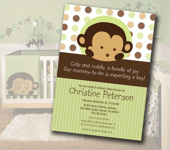Monkey Baby Shower Invitation Matches Mod Pod Pop Monkey Nursery