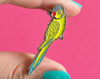 Parakeet Enamel Pin Badge - Birds in Hats Parakeet in a Cap Pin Badge, Lapel Badge, Hat Pin, Bird pin, Green Parrot, Ring Necked