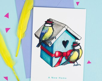 A New Home: Great Tits in Bowler Hats Birds in Hats Greetings Card
