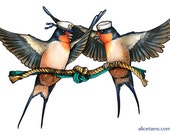 Swallow Couple in Sailor Hats Tying the Knot - A4 Print