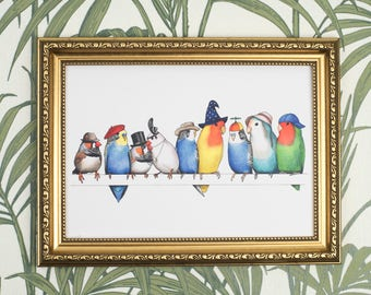 A Row of Birds in Hats - A4 Print