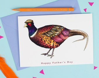 Happy Father's Day: Pheasant in a Flat Cap Birds in Hats Greetings Card