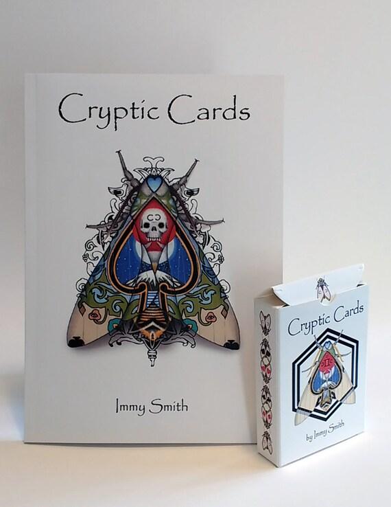 Pont des cartes + livre Combo - livre œuvres d'art en édition limitée cartes cryptique et terrasse - carte à jouer Art de papillons cryptiques