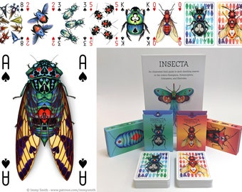 Insecta DOUBLE - Ruby and Opal deck; 56 Card Poker Deck - Playing Card Art of insects; beetles, bugs, bees, wasps, ants, blattodeans