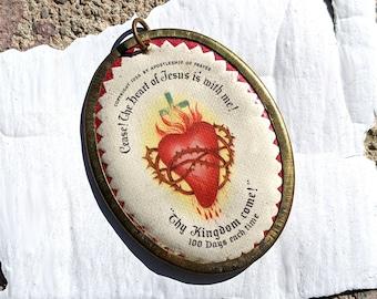 1936 Sacred Heart Scapular in brass bezel
