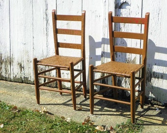 Pair Antique Primitive Rustic Rush Seat Hearth Chairs, Chippy Caramel With  Cream, Red U0026 Teal Highlights Free Delivery To Tipp City Ohio Area