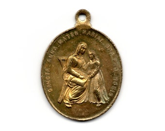 6feebf9755f Antique Latin holy medal, large St Anne and Holy Family brass medal #131