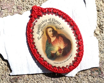 1936 Sacred Heart indulgence scapular with red crocheted edge