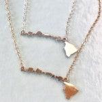 Dainty Hawaiian Islands Necklace - Sterling Silver & 14K gf- Big island of Hawaii, Maui, Lanai, Molokai, Oahu, Kauai and Niihau