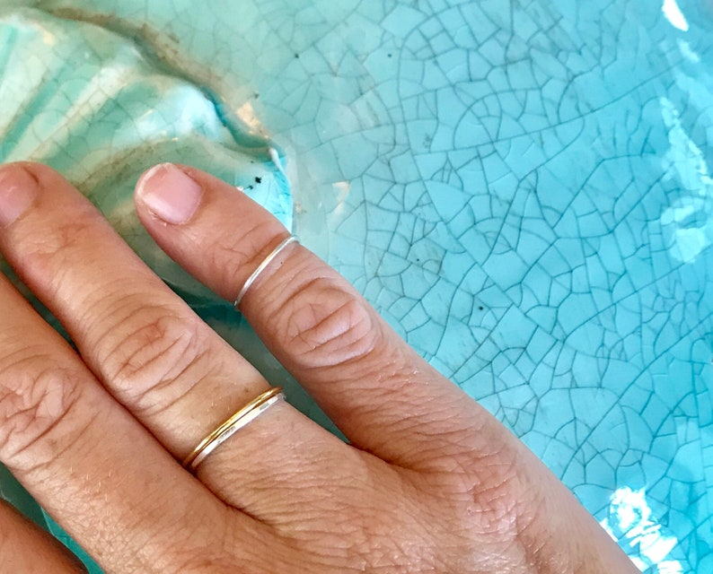 Simple Stacking Rings in Sterling Silver or 14k gf image 0