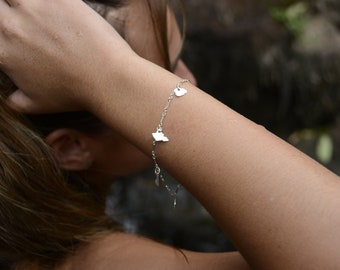 Hawaiian Islands Charms Bracelet or Anklet Sterling Silver
