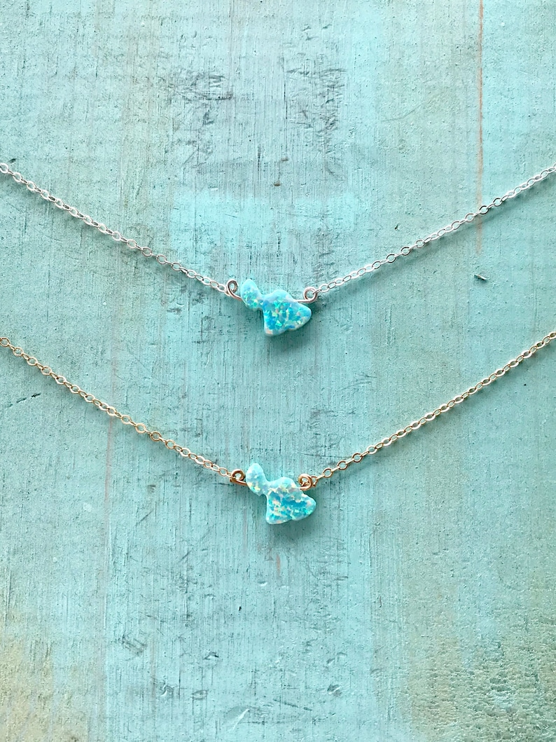 Maui Opal Necklace made in sterling silver or 14kgf image 0