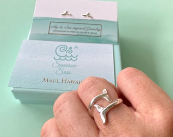 Whale Tail Sterling Gift Set • whale Tail stud Earrings and adjustable Whale Tail Ring