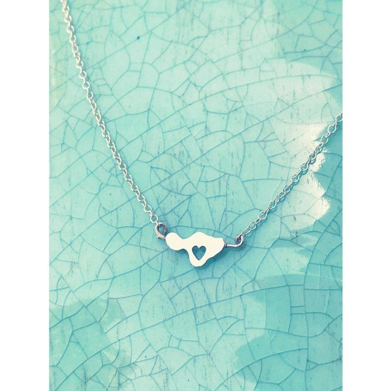 Heart in Maui Dainty Necklace  14K gf or sterling  Hawaiian image 0