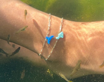 Opal Maui or Whale Tail Sterling Silver or 14Kgf Anklet