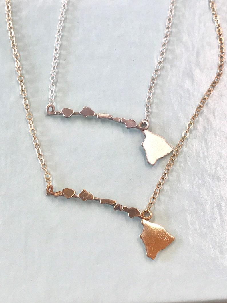 Dainty Hawaiian Islands Necklace  Sterling Silver & 14K gf image 0
