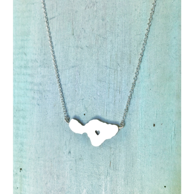Heart in Maui Necklace  Sterling Silver or 14K gf by Sparrow image 0