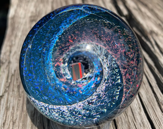 Black Cherry/Pink Teal/Green Pink Dichroic Vortex Marble with opal