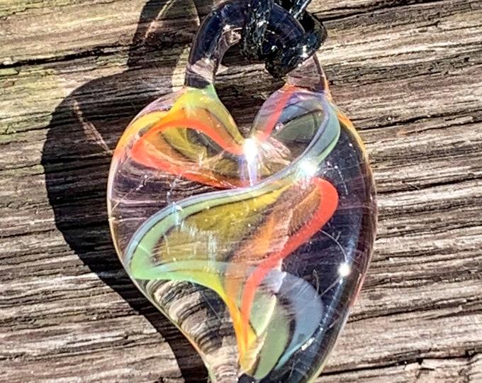 Rainbow ribbon cane heart pendant