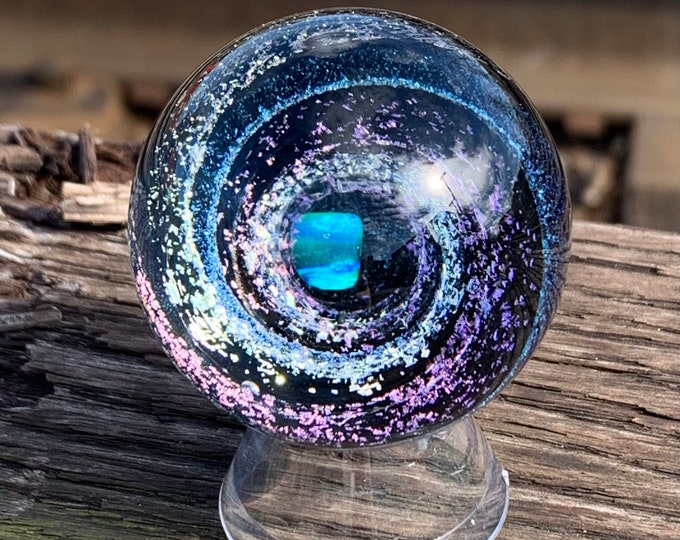 Purple/yellow/blue dichroic vortex marble with blue opal