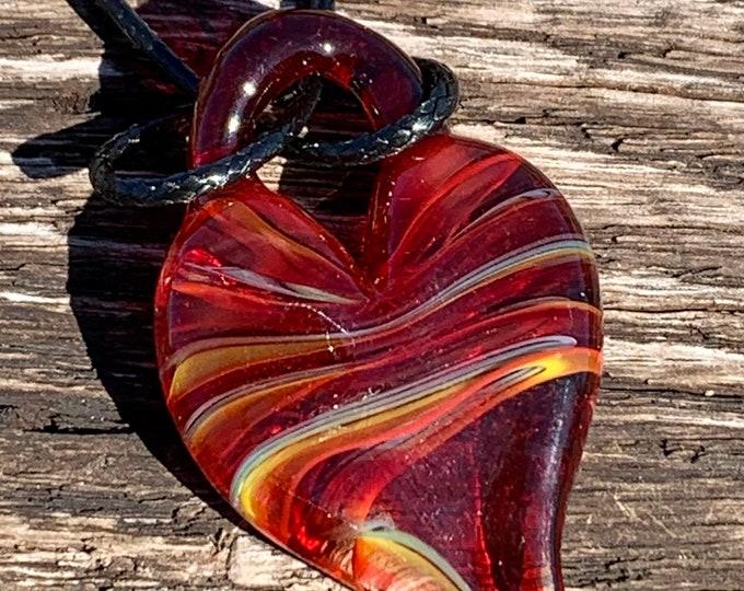 Red rainbow heart pendant