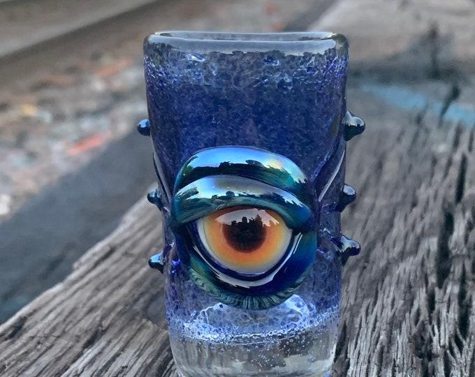 Cobalt blue eye shot glass
