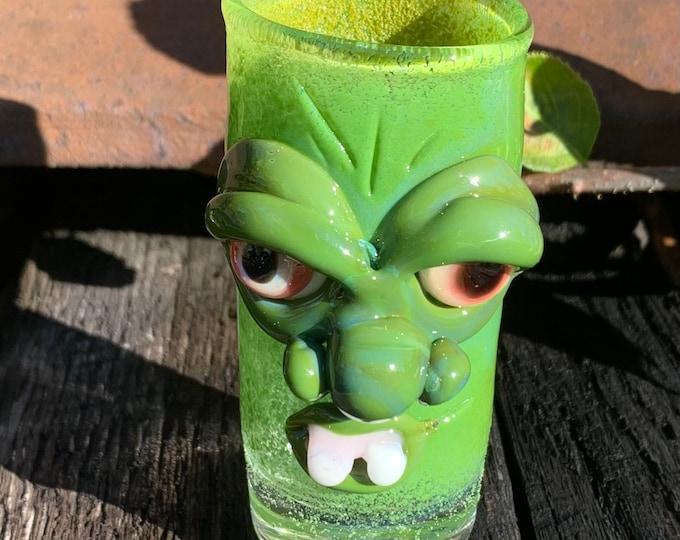 Green monster face shot glass